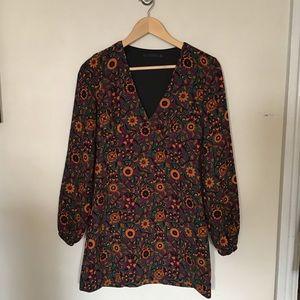 Zara | retro print floral babydoll dress